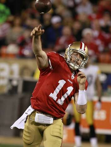 49er quarterback Alex Smith throws during the San Francisco 49ers vs. the Pittsburg Steelers at Candlestick Park in San Francisco, Calif., on Monday, December 19, 2011. Photo: John Storey, Special To The Chronicle