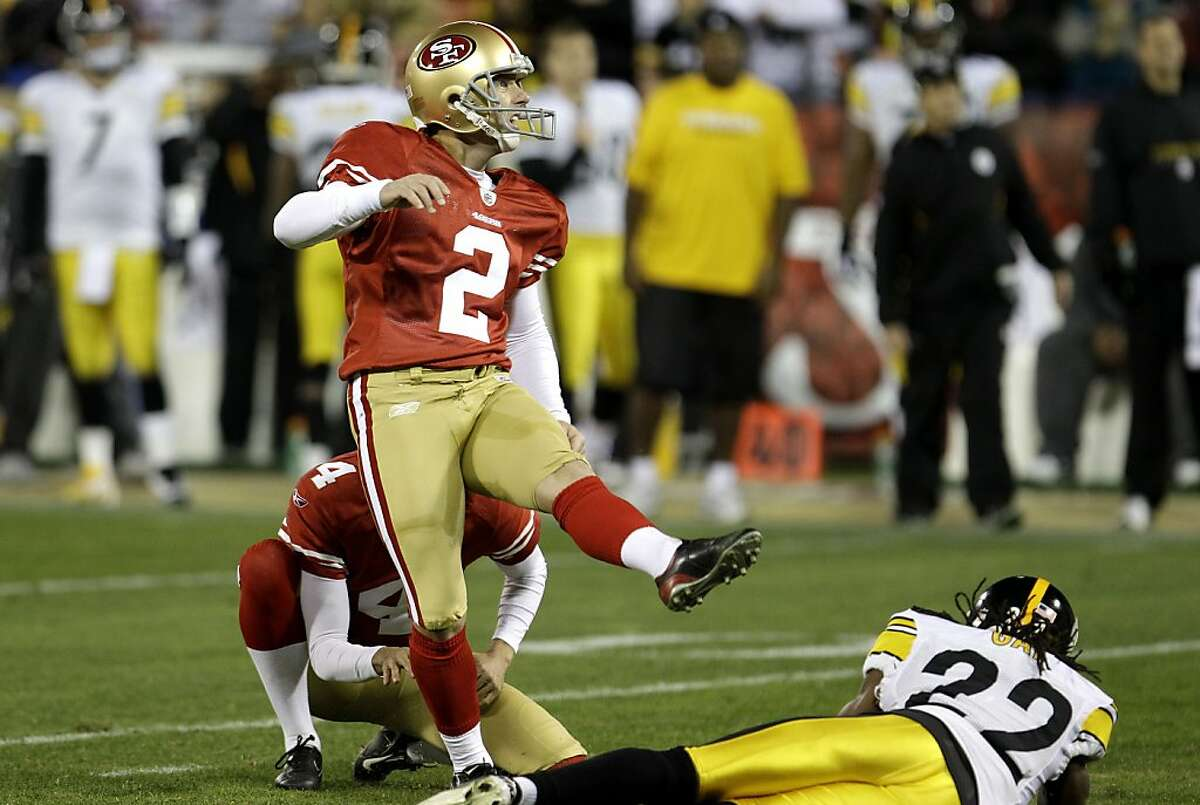 San Francisco 49ers place kicker David Akers (2) kicks a 38-yard field goal to break Jerry Rice's team record for points in a season during the second quarter against the Pittsburgh Steelers of an NFL football game in San Francisco, Monday, Dec. 19, 2011. (AP Photo/Paul Sakuma)