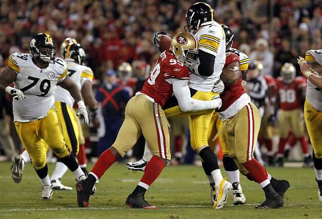 49ers' Aldon Smith, (99) sacks PIttsburgh's quarterback Ben Roethlisberger in the fourth quarter, as the San Francisco 49ers beatthe Pittsburgh Steelers, 20-3,  on Monday December 19, 2011, in San Francisco, Ca. Photo: Michael Macor, The Chronicle