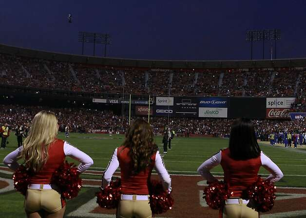 The San Francisco 49er cheerleaders wait for the lights to come back on during the blackout before the San Francisco 49ers vs. the Pittsburg Steelers at Candlestick Park in San Francisco, Calif., on Monday, December 19, 2011. Photo: John Storey, Special To The Chronicle