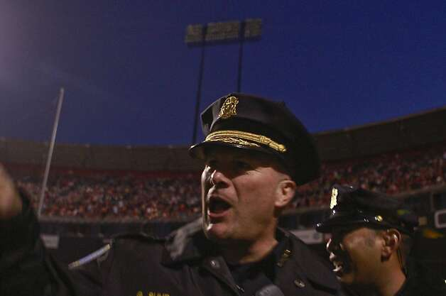 San Francisco police chief Greg Suhr waits for the lights to come back on during the back out before the San Francisco 49ers vs. the Pittsburg Steelers at Candlestick Park in San Francisco, Calif., on Monday, December 19, 2011. Photo: John Storey, Special To The Chronicle