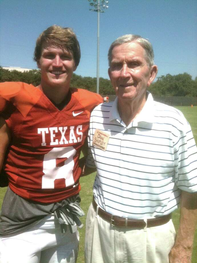 Dan Shipley with grandson Jaxon Shipley, who plays football for the University of Texas. Photo: Courtesy Photo