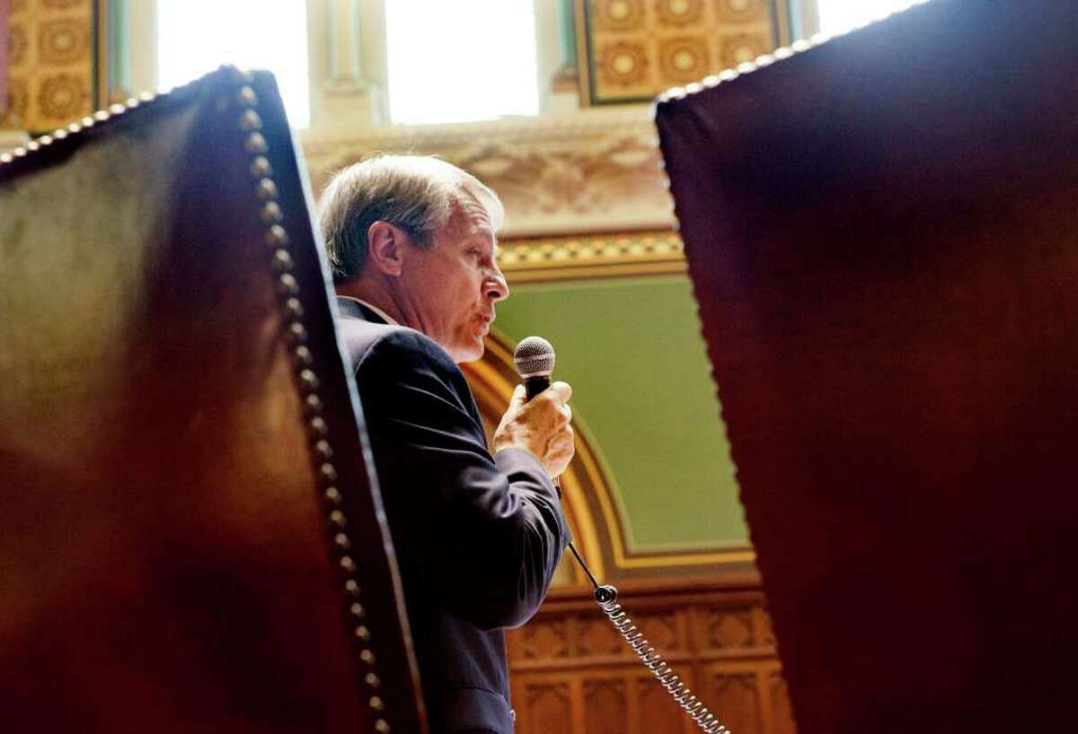 State Senator Len Suzio argues against the Jackson Laboratory bill during the special session in the state Capitol in Hartford, Conn. on October 26, 2011. Suzio was a vociferous opponent of the project, which he said was too expensive and failed to protect state's interests.