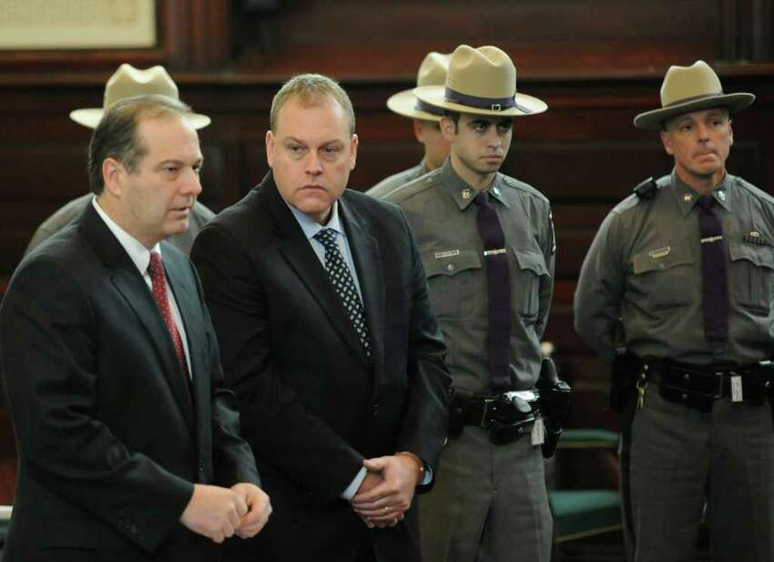 Edward McDonough Jr. appears in front of Judge George Pulver and is represented by attorney Brian Premo(l) in the Rensselaer County Courthouse in Troy January 28, 2011 to face charges of alleged voter fraud after a Grand Jury handed up sealed indictments naming him and Michael LaPorto (Skip Dickstein / Times Union)