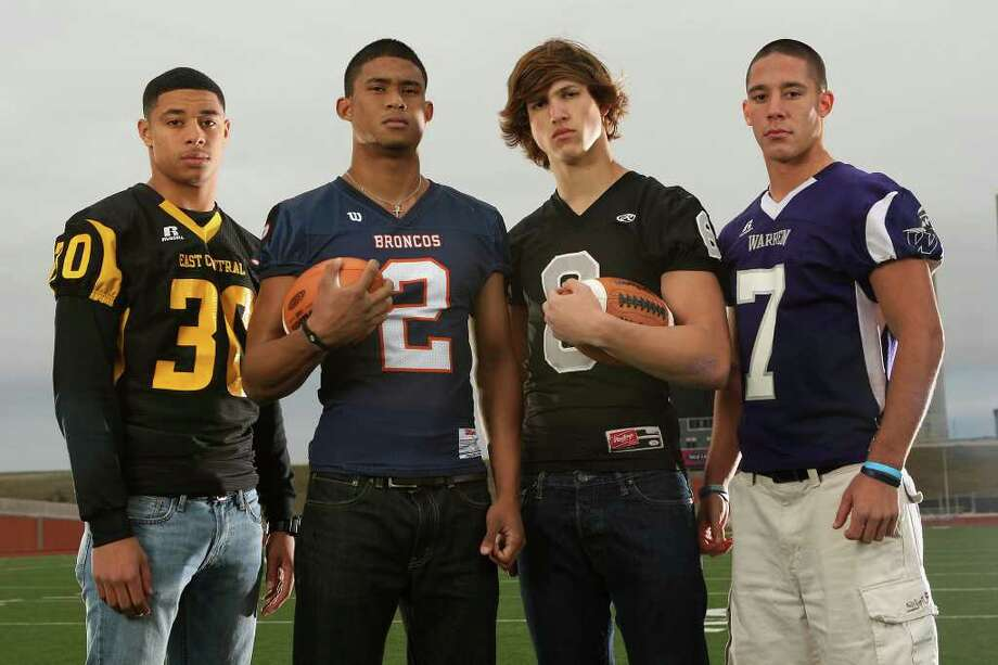 The Class 5A  All-Area defensive backs at Heroes Stadium. Sunday, Dec. 11, 2011. From left, Austin Jupe (East Central), Colin Blake (Brandeis), Eric Huhn (Steele) and Tyler Chapa (Warren). JERRY LARA/glara@express-news.net Photo: JERRY LARA, San Antonio Express-News / SAN ANTONIO EXPRESS-NEWS