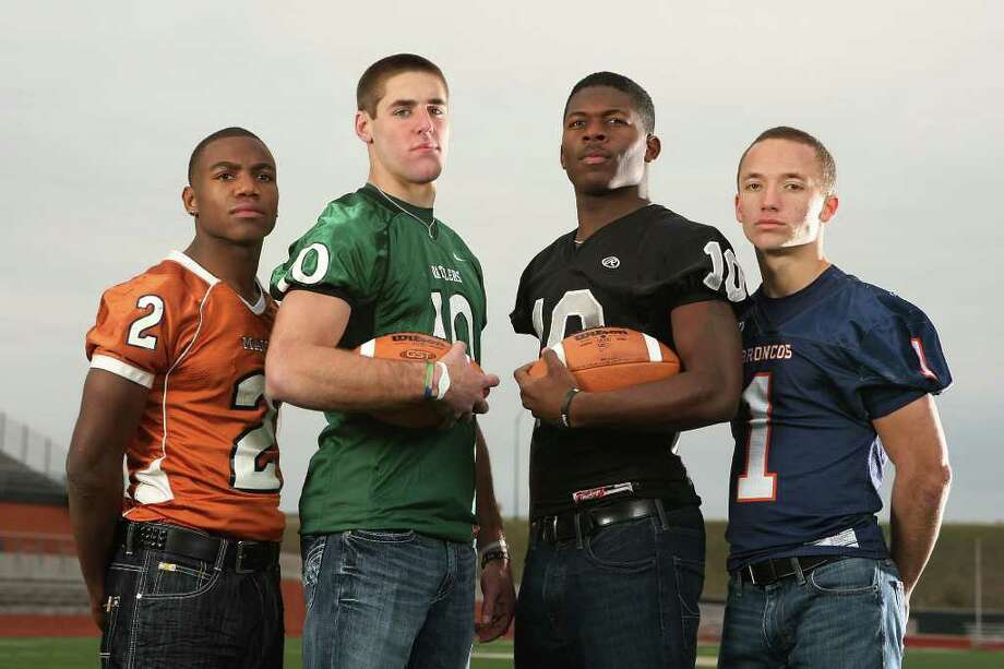 FBH  -- The Class 5A All-Area offensive backs at Heroes Stadium. Sunday, Dec. 11, 2011. From left, Marquis Warford (Madison), Trevor Knight (Reagan), Tommy Armstrong (Steele) and Trinton Ynclan (Brandeis). Not pictured Quaylon Jones (Judson). JERRY LARA/glara@express-news.net Photo: JERRY LARA, San Antonio Express-News / SAN ANTONIO EXPRESS-NEWS