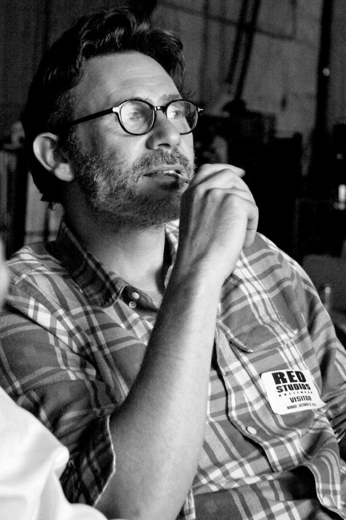 Director Michel Hazanavicius on the set of