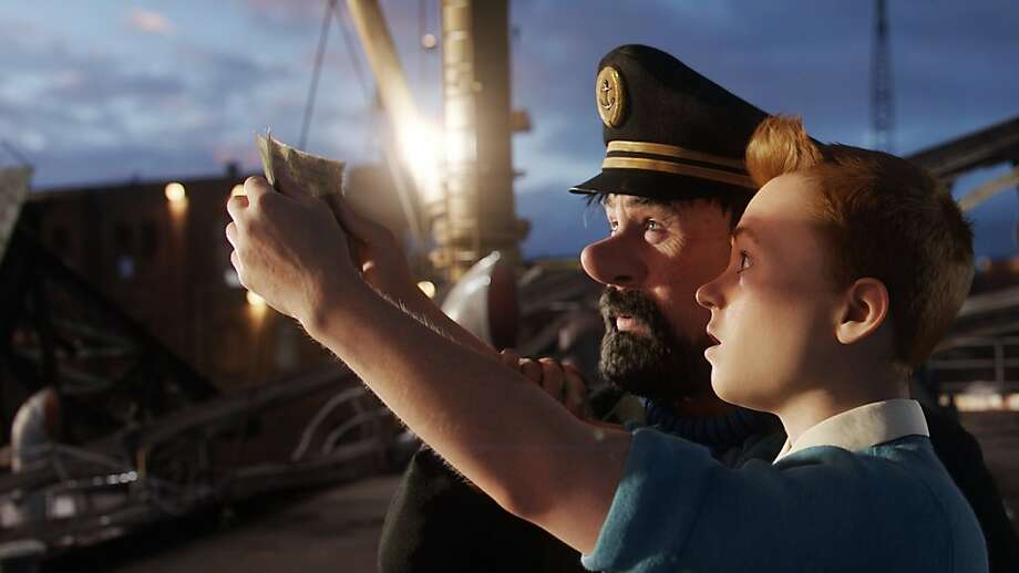 "Tintin and Captain Haddock go in search of  treasure on a sunken ship in Steven Spielberg's ""The Adventures of Tintin,"" opening Dec. 21. Photo: Paramount Pictures"