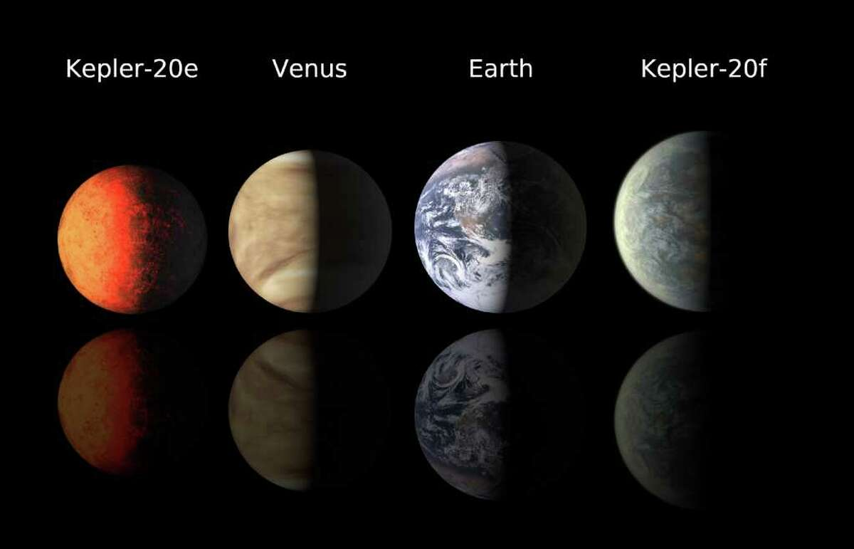 This illustration provided by the Harvard-Smithsonian Center for Astrophysics shows artist's renderings of planets Kepler-20e and Kepler-20f compared with Venus and the Earth. Scientists have found the two Earth-sized planets orbiting a distant star, an encouraging sign for prospects of finding life elsewhere. The discovery shows that such planets exist and that they can be detected by the Kepler spacecraft, said Francois Fressin of the Harvard-Smithsonian Center for Astrophysics in Cambridge, Mass. They're the smallest planets found so far outside the solar system. Scientists are seeking Earth-sized planets as potential homes for extraterrestrial life, said Fressin, who reports the new findings in a paper published online Tuesday, Dec. 30, 2011 by the journal Nature.