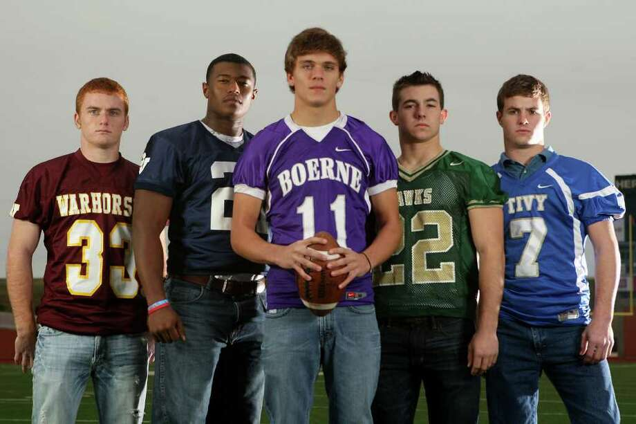 FBH  -- The Class Sub-5A All-Area offensive backs at Heroes Stadium. Sunday, Dec. 11, 2011. From left, Joseph Sadler (Devine), Lawrence Mattison (Smithson Valley), Wil Amick (Boerne), Zach Henshaw (Canyon Lake) and Parks McNeil (Kerrville Tivy). JERRY LARA/glara@express-news.net Photo: JERRY LARA, San Antonio Express-News / SAN ANTONIO EXPRESS-NEWS
