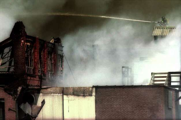 The Latex Foam fire in Ansonia, Conn. on May 14th, 2001. The fire destroyed the factory building, which is now the site of a Target store. Photo: Ned Gerard, ST / Connecticut Post