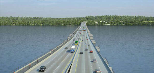The new 520 corridor will be six lanes wide (two 11-foot-wide outer general-purpose lanes and one 12-foot-wide inside HOV/transit lane in both direction), with 4-foot-wide inside shoulders and 10-foot-wide outside shoulders across the floating bridge. It also will have bike lanes and room to be retrofitted for light rail in the future, according to WSDOT. Photo: Washington State Department Of Transportation