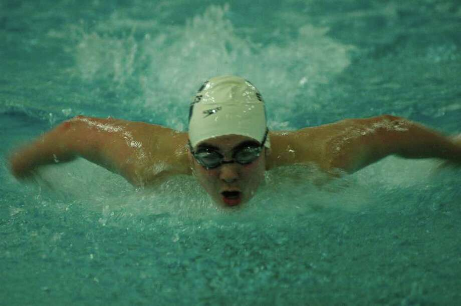 Staples' Jonathan Blansfield won in the 100-meter butterfly and 100-meter backstroke last Wednesday against Trumbull and in the 200-meter individual medley Friday against Danbury. The Wreckers won both meets to open the season at 2-0. Photo: Ron Wimer / Contributed Photo