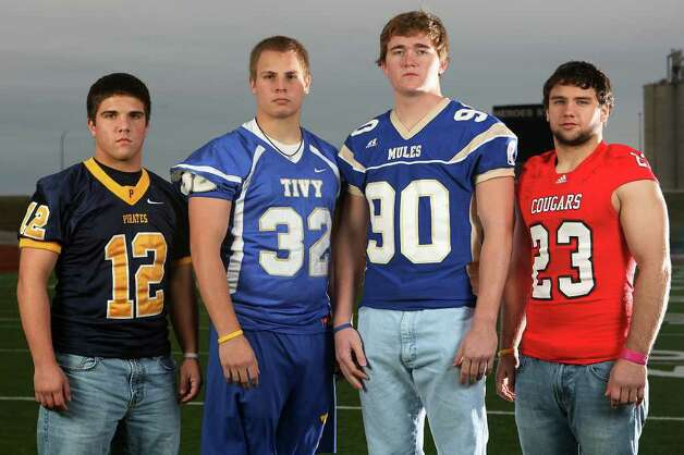 FBH  -- The Class Sub-5A All-Area linebackers at Heroes Stadium. Sunday, Dec. 11, 2011. From left, Braden Lyssy (Poth), Ferris Owens (Kerrville Tivy), Skylar Nelson (Alamo Heights) and Brice Dunman (New Braunfels Canyon). JERRY LARA/glara@express-news.net Photo: JERRY LARA, San Antonio Express-News / SAN ANTONIO EXPRESS-NEWS