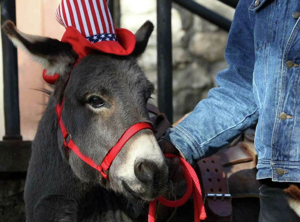Egor Jr. the donkey, held by Rusty Tinajero, waits during a press conference held Tuesday December 20, 2011 at Brackenridge Park. Mayor Julian Castro announced that a 2.6 acre area in the park known as the Donkey Barn will be converted into an education center with plant and animal exhibits. The project is waiting for approval from City Council and will cost about $500,000.
