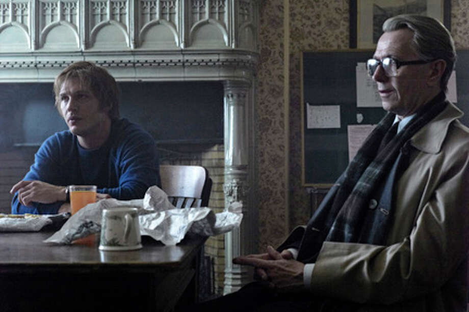 "(L-R) Tom Hardy as Ricki Tarr and Gary Oldman as George Smiley in ""Tinker Tailor Soldier Spy."""