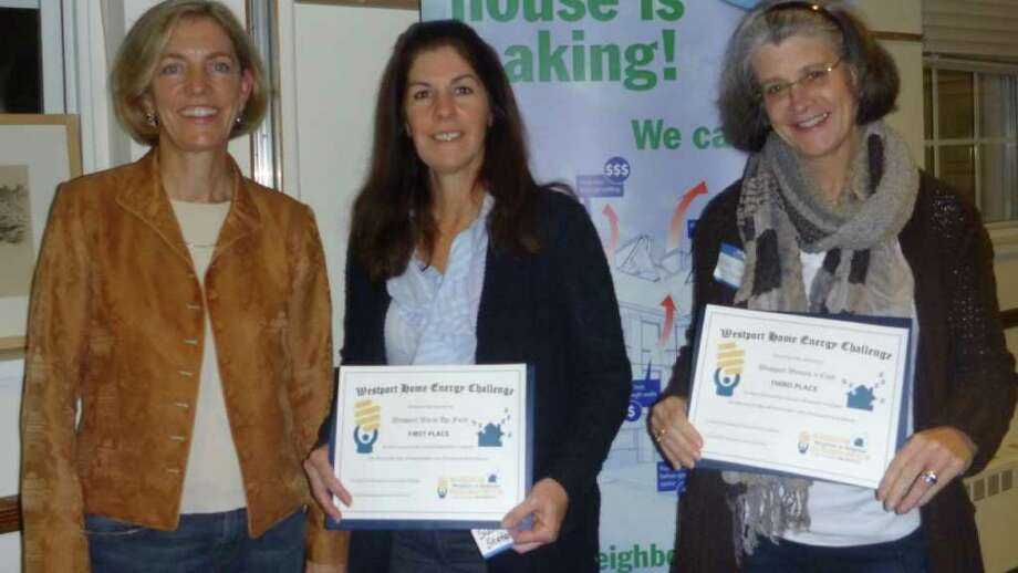 Pippa Bell Ader, chairwoman of the Westport Home Energy Challenge, stands with Susan Stefenson of the Westport Warm-Up Fund and Mary Vickery of the Westport Womanís Club with their award certificates from the contest. Westport Warm-Up Fund came in first, while the Woman's Club came in second. Photo: Contributed Photo