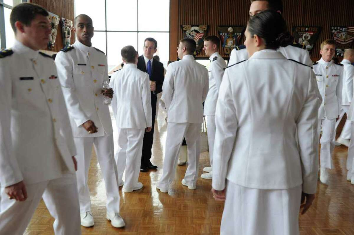Gov. Dan Malloy attends the U.S. Coast Guard Academy 130th Commencement Exercises in New London, Conn. on Wednesday May 18, 2011. President Obama was the keynote speaker. Malloy's office brought him to functions of military celebration and of mourning.
