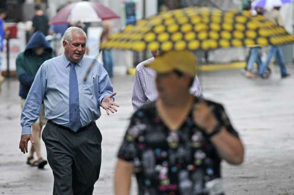 NYRA President and CEO Charles E. Hayward walks to his office on the last day of racing for the year at Saratoga Race Course on Monday Sept. 5, 2011 in Saratoga Springs, NY. (Philip Kamrass / Times Union archive)