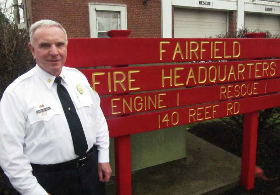 Fairfield Fire Chief Richard Felner stands outside fire headquarters on Reef Road Wednesday afternoon. Photo: Kirk Lang