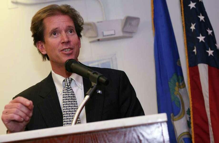 State Sen. L. Scott Frantz, R-36th District, speaking at the St. Lawrence Society in November 2010. Photo: File Photo, Greenwich Time File / Greenwich Time File Photo