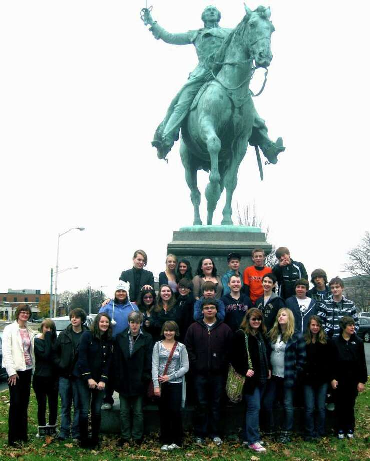 SPECTRUM/Students of French from Shepaug Valley high and middle schools recently enjoyed a field trip to the Hartford area. Here, high school students pose at the Marquis de Lafayette statue. They are, from left to right, front row, Madame Heidi Edel, Sarah Novak, Sam Blitt, Emma Thermer, Sebastian Taylor, Olivia DeCaro, James Kish, Kimberly Froccia, Chelsea Oliver, Sarah Stratton and Sam Krebs; middle row, Tiffany Arias, Sarah Cava, Amanda Melicz-Corbi, Luke Wright, Jim Hagen, Ryan Bollard, Brian DeBella, Dylan Morris, Nick Andrews and Kelby Lawson; back row, Sam Nash, Kaitlyn Smith, Alden Cain, Jenna Raymond, Christian Stuart, Andrew Loya and Travis Fitch. November 2011  Courtesy of Heidi Edel Photo: Contributed Photo