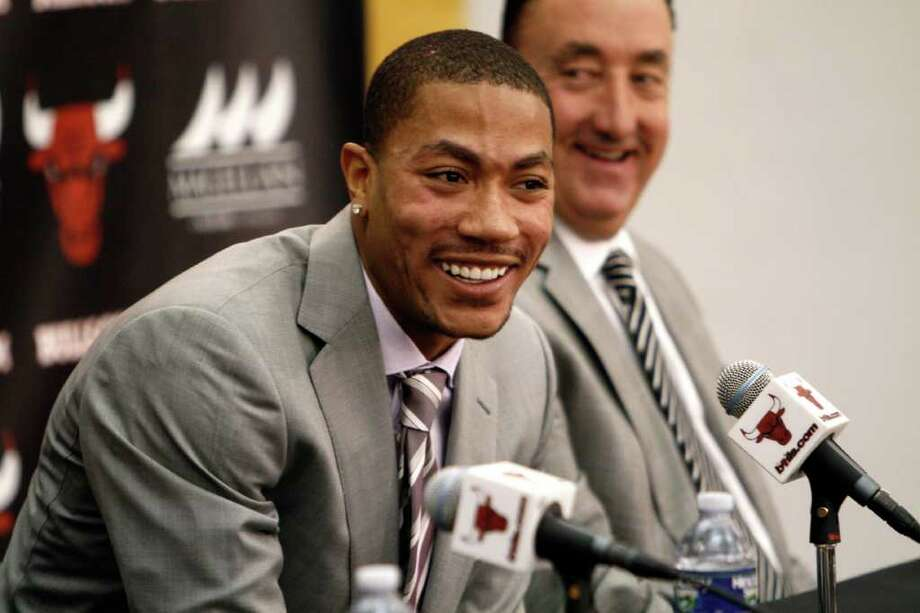 The Bulls' Derrick Rose was all smiles during the announcement of a five-year, $94 million extension for the reigning MVP. Photo: AP