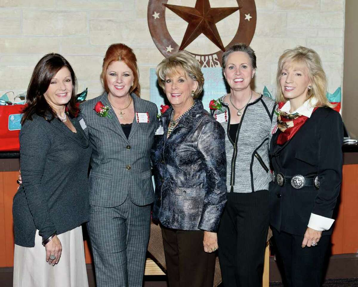 Debbie Adams, from left, Laura Kent, Pearl Award honoree Paula Robinson, Sharleen Walkoviak and Pat Mann Phillips will be honored for their service to the Houston Livestock Show & Rodeo at the Shimmering Spurs Trailblazer Luncheon and Fashion Show on Feb. 8.