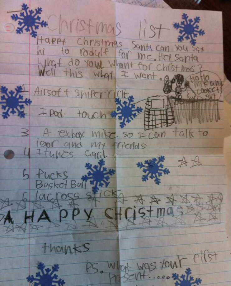 Some of the letters to Santa were highly decorated in order to better get his attention. Photo: Ben Holbrook