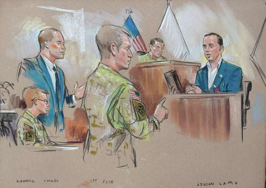 In this courtroom sketch, Army Pfc. Bradley Manning, left, his attorney David Coombs, standing left, Prosecution attorney Ashden Fein, center, and Inspecting Officer Paul Almanza, upper right, and witness Adrian Lamo, right, appear in a courtroom in Fort Meade, Md., Tuesday, Dec. 20, 2011, during a military hearing that will determine if Manning should face court-martial for his alleged role in the WikiLeaks classified leaks case. Manning's online correspondent was Lamo, a former hacker, who gave the chat logs to authorities, leading to Manning's arrest in May 2010. (AP Photo/William Hennessy) NO TV, NO ARCHIVE, NO SALES, LOCALS OUT Photo: William Hennessy