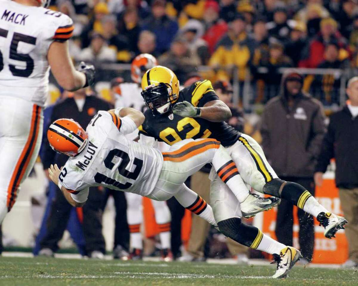 Browns QB Colt McCoy endured this illegal hit from Pittsburgh's James Harrison on Dec. 8 and still hasn't shaken the effects of a concussion.