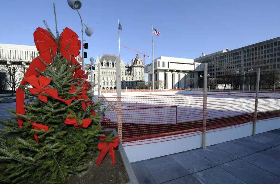 The ice skating rink at the Empire State Plaza is almost ready for use in Albany, N.Y. Dec. 20. 2011.       (Skip Dickstein/Times Union) Photo: Skip Dickstein