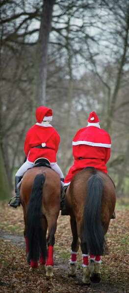 Two horse riders dressed as Santa Claus arrive at the Christmas party of the riding club in Alt Zesc