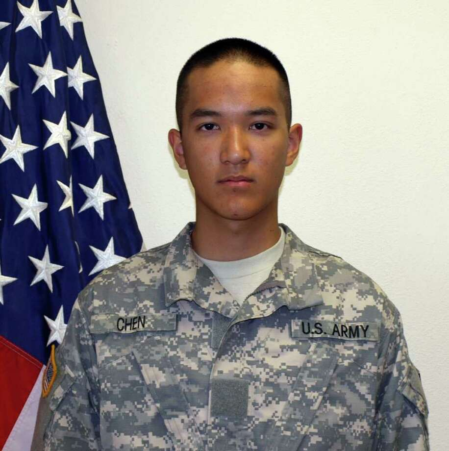"""FILE - This undated file photo provided by the U.S. Army shows Pvt. Danny Chen,19, who was killed Monday, Oct. 3, 2011 in Kandahar, Afghanistan. The U.S. Army says eight American soldiers have been charged in connection with the Oct. 3 death of a fellow soldier in southern Afghanistan. In a statement, the military said the eight soldiers from Chen's company faced charges ranging from dereliction of duty, assault, negligent homicide and involuntary manslaughter. Chen was found in a guard tower in Kandahar province with what the Army described at the time as """"an apparent self-inflicted gunshot wound."""" He was assigned to the 3rd Battalion, 21st Infantry Regiment, 1st Stryker Brigade Combat Team, 25th Infantry Division, Fort Wainwright, Alaska. (AP Photo/U.S. Army, File)  (AP Photo/U.S. Army, File)"""