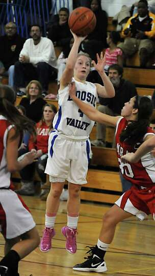 Hoosic Valley's Cassidy Chapko takes a jump shot during a basketball game against Tamarac on Wednesd