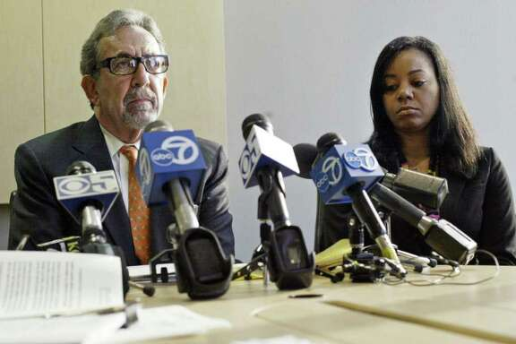 LAURA A. ODA: ASSOCIATED PRESS ON TO ANOTHER COURT: Attorney Burt Boltuch, left, addresses the reasons behind a sexual harassment lawsuit filed by Erika Smith, right, against Golden State guard Monta Ellis.