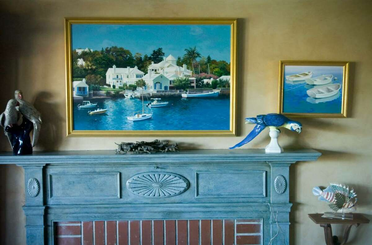 Pamela Riley-Abear's paintings and sculptures decorate her home in the Shippan section of Stamford on Monday, Oct. 18, 2009.