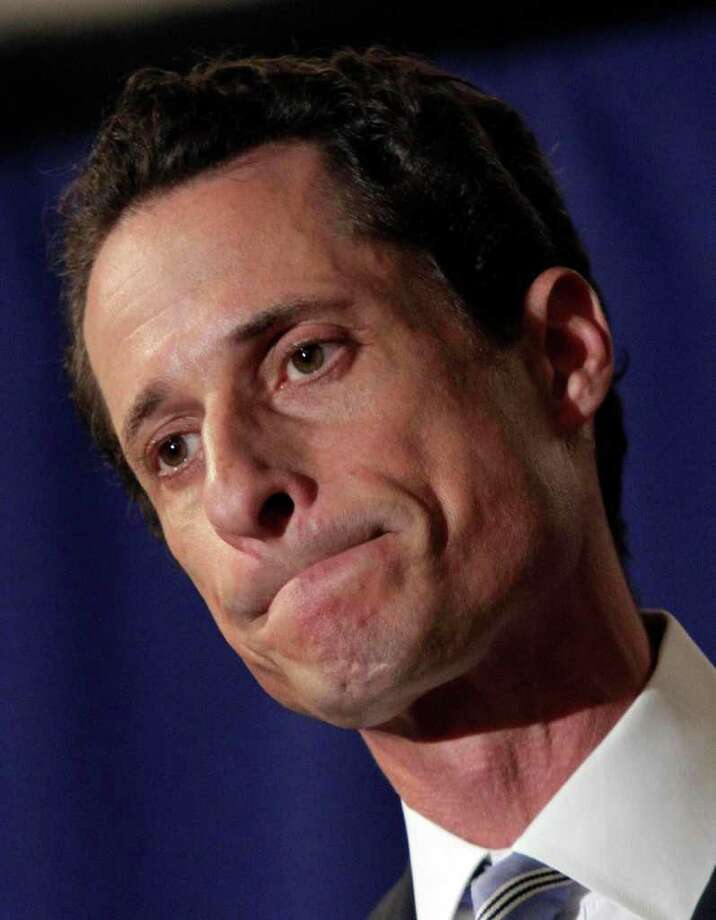 "U.S. Rep Anthony Weiner, D-N.Y., addresses a news conference in New York,  Monday, June 6, 2011. After days of denials, a choked-up New York Democratic Rep. Anthony Weiner confessed Monday that he tweeted a bulging-underpants photo of himself to a young woman and admitted to ""inappropriate"" exchanges with six women before and after getting married. (AP Photo archive/Richard Drew) Photo: Richard Drew / AP"