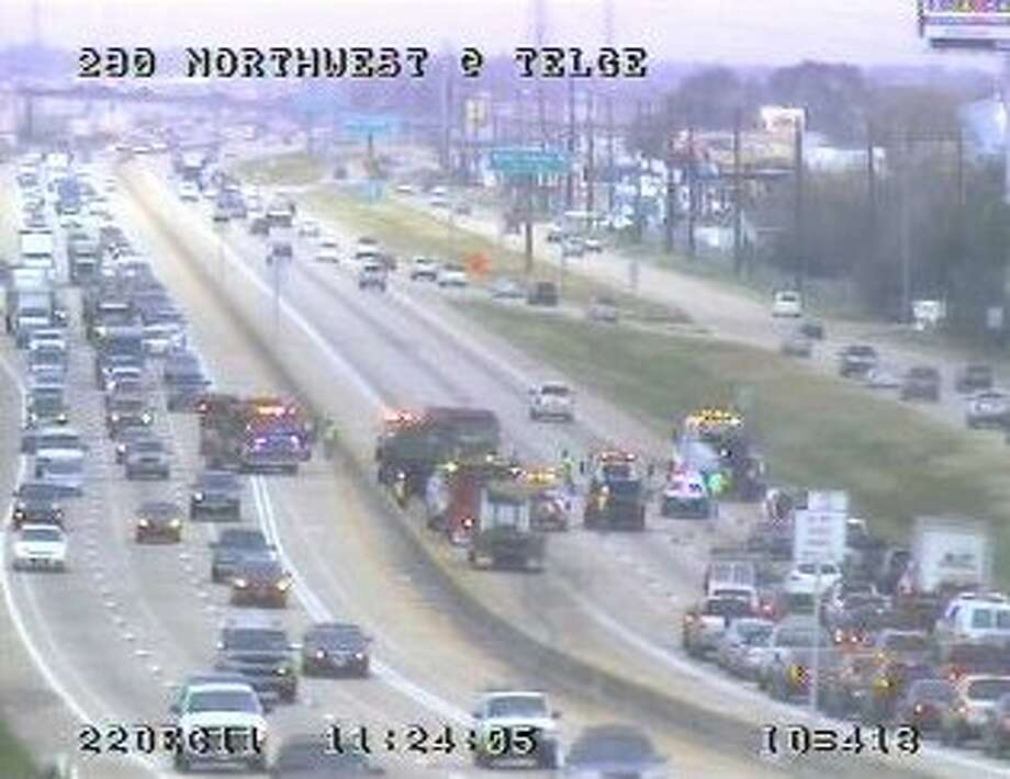 A diesel fuel spill on U.S. 290 at Telge Road has shut down all outbound lanes. Photo: Houston Transtar