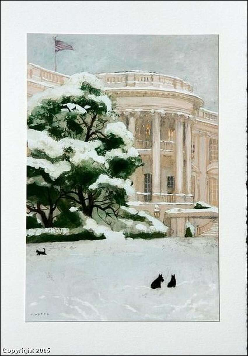 George W. Bush 2005. Here are the Bush's two dogs, Barney and Miss Beazely, in a spare painting by Jamie Wyeth. No garland, or presents. The inside reads