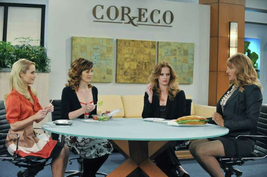 "In this image released by ABC,  from left to right, Kate Reinders, Kirstin Eggers, Rebecca Mader and Ben Koldyke are seen during a scene from ""Work It,"" on the ABC Television Network. Photo: ABC"