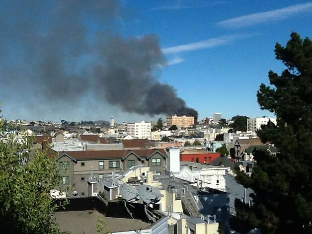 Smoke rises from a three alarm fire at 1100 Elm Street near San Francisco's Alamo Square. Photo: Courtesy Dave Bailey