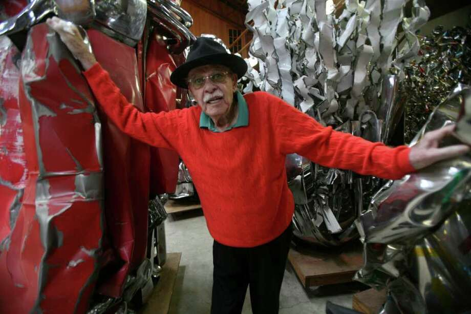 FILE -- Sculptor John Chamberlain at his studio in Shelter Island, N.Y., on May 5, 2011. Chamberlain, who almost singlehandedly gave automotive metal a place in the history of sculpture, smashing and twisting together a poetic fusion of Abstract Expressionism and Pop from fenders, fins, bumpers and hoods, died Wednesday, Dec. 21, 2011, in Manhattan. He was 84. (Librado Romero/The New York Times) Photo: LIBRADO ROMERO / NYTNS