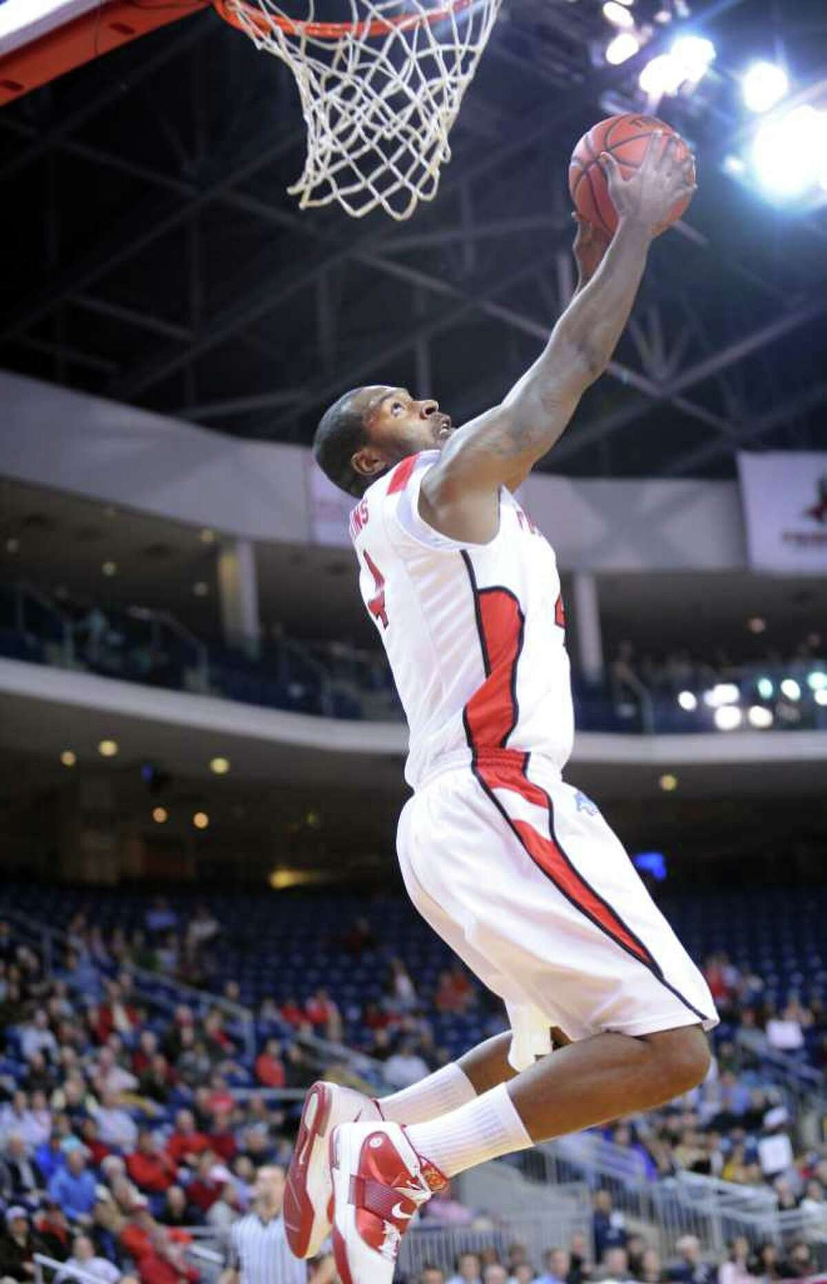 Fairfield's Yorel Hawkins dunks the ball during game action against Austin Peay at the Webster Bank Arena at Harbor Yard in Bridgeport, Conn. Saturday, Feb. 19, 2011.