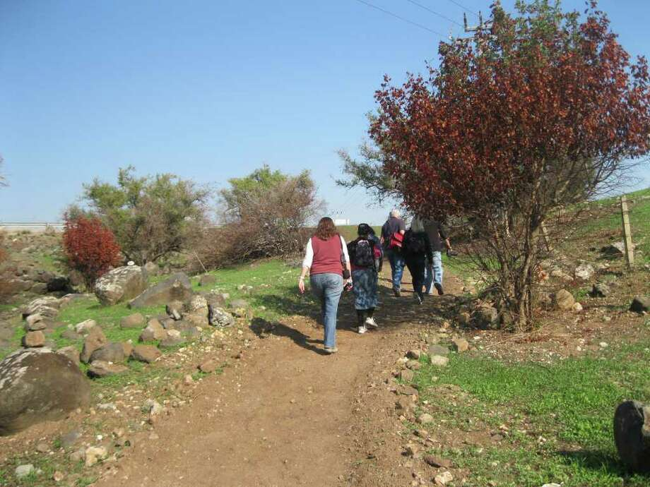 Pilgrims hike along the Gospel Trail, a 39-mile network of trails and paths in Israel that trace Jesus' steps. Photo: Michele Chabin