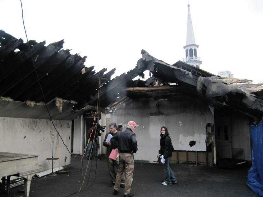 Pictured is the choir room of Saugatuck Congregational Church, which was heavily damaged during a Nov. 20 fire. Members of the media were given a tour of the church Thursday afternoon. Photo: Kirk Lang