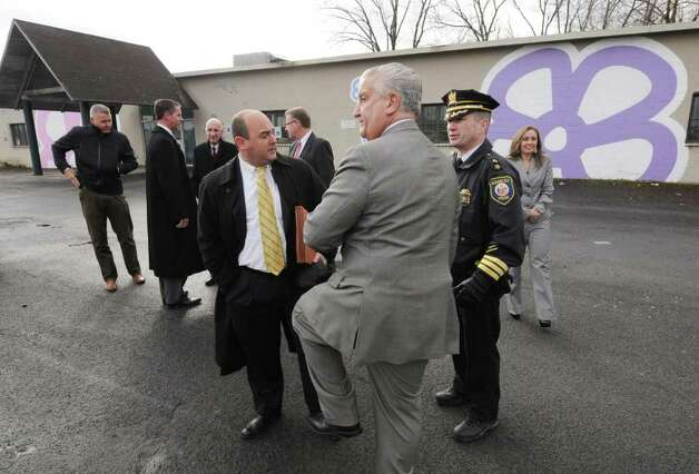 Mayor Jerry Jennings, center, debriefs with city officials following a on a press conference Friday morning in Albany, N.Y. Dec. 23, 2011, to discuss Thursday night?s police action against the Occupy Albany group. (Will Waldron / Times Union) Photo: Will Waldron