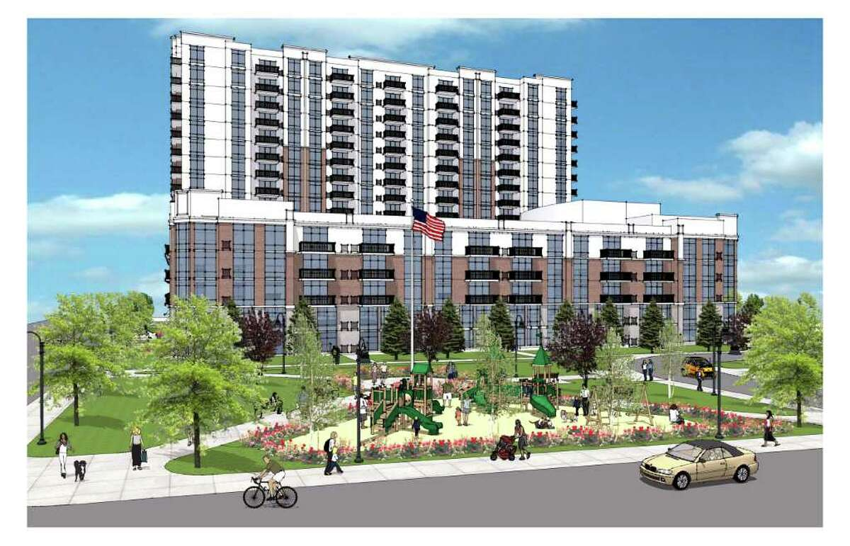 Artist rendering of a 15-story residential building on the corner of Pacific and Henry streets proposed by Harbor Point developer BLT.