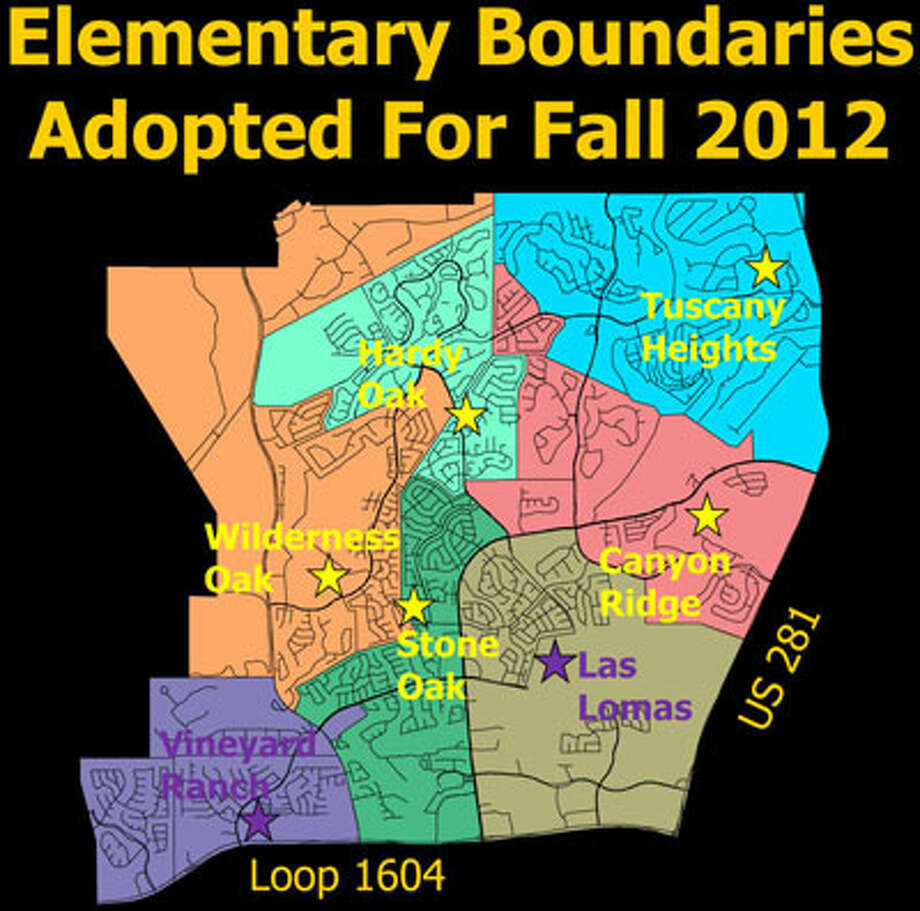 North East ISD trustees Dec. 12 approved rezoning attendance boundaries in around Stone Oak to accommodate the opening of two elementary schools next fall, Las Lomas and Vineyard Ranch. Illustration courtesy of NEISD