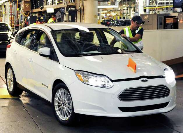 The new Focus battery-operated electric car comes off the line at Ford's Michigan Assembly Plant, which previously made large SUVs. Photo: Ford Motor Co., Wieck / Ford
